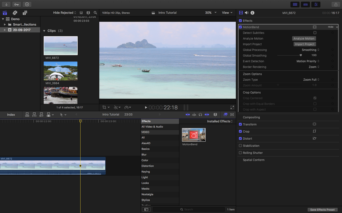 MotionBend running in FCPX