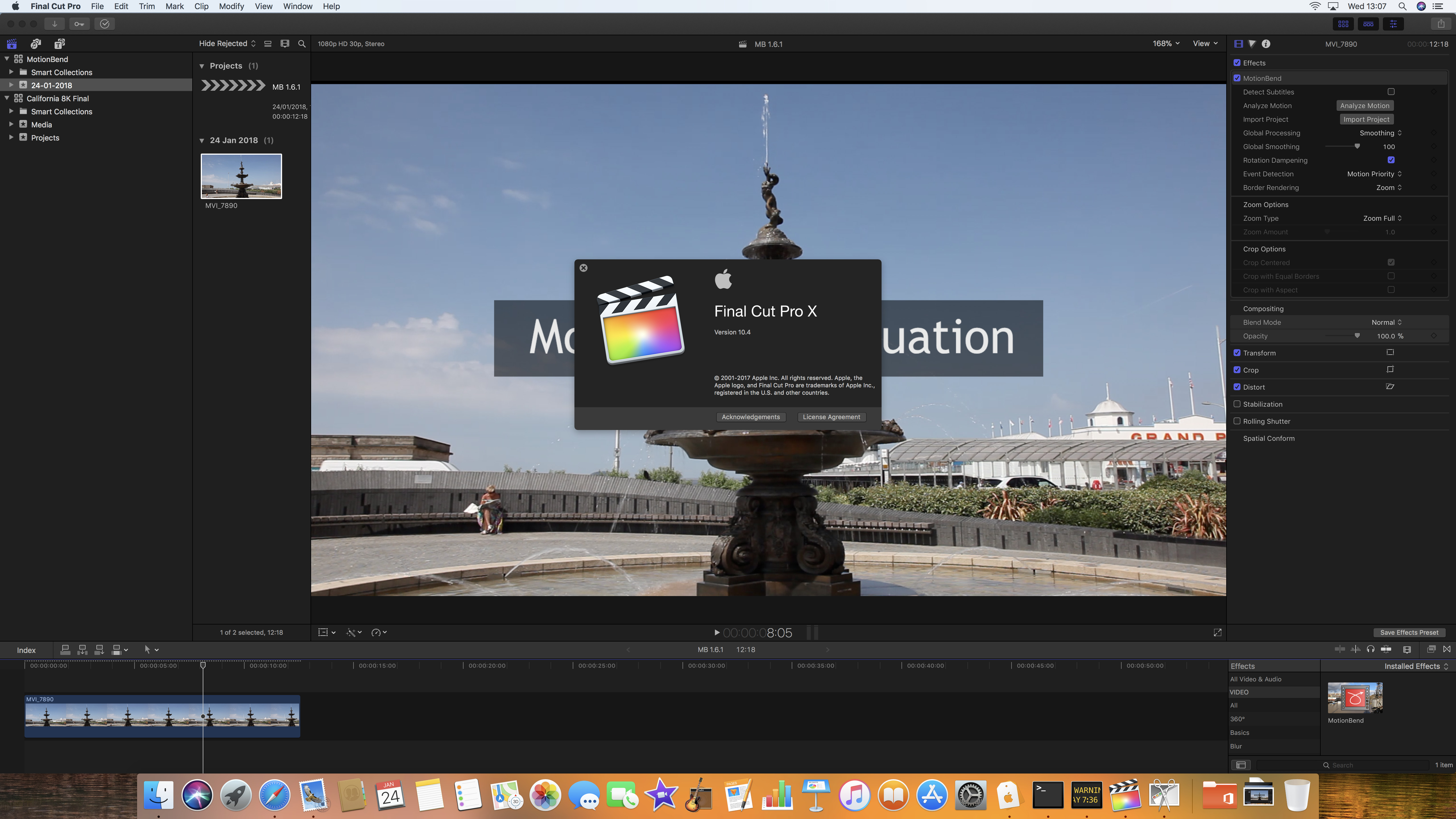 MotionBend Plugin running in FCPX 10.4